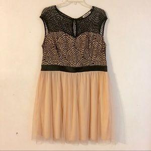 Plus size crochet & tulle semi formal dress